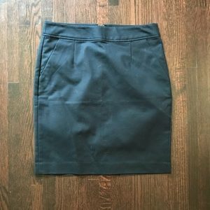 Navy Blue Pencil Skirt with Pockets